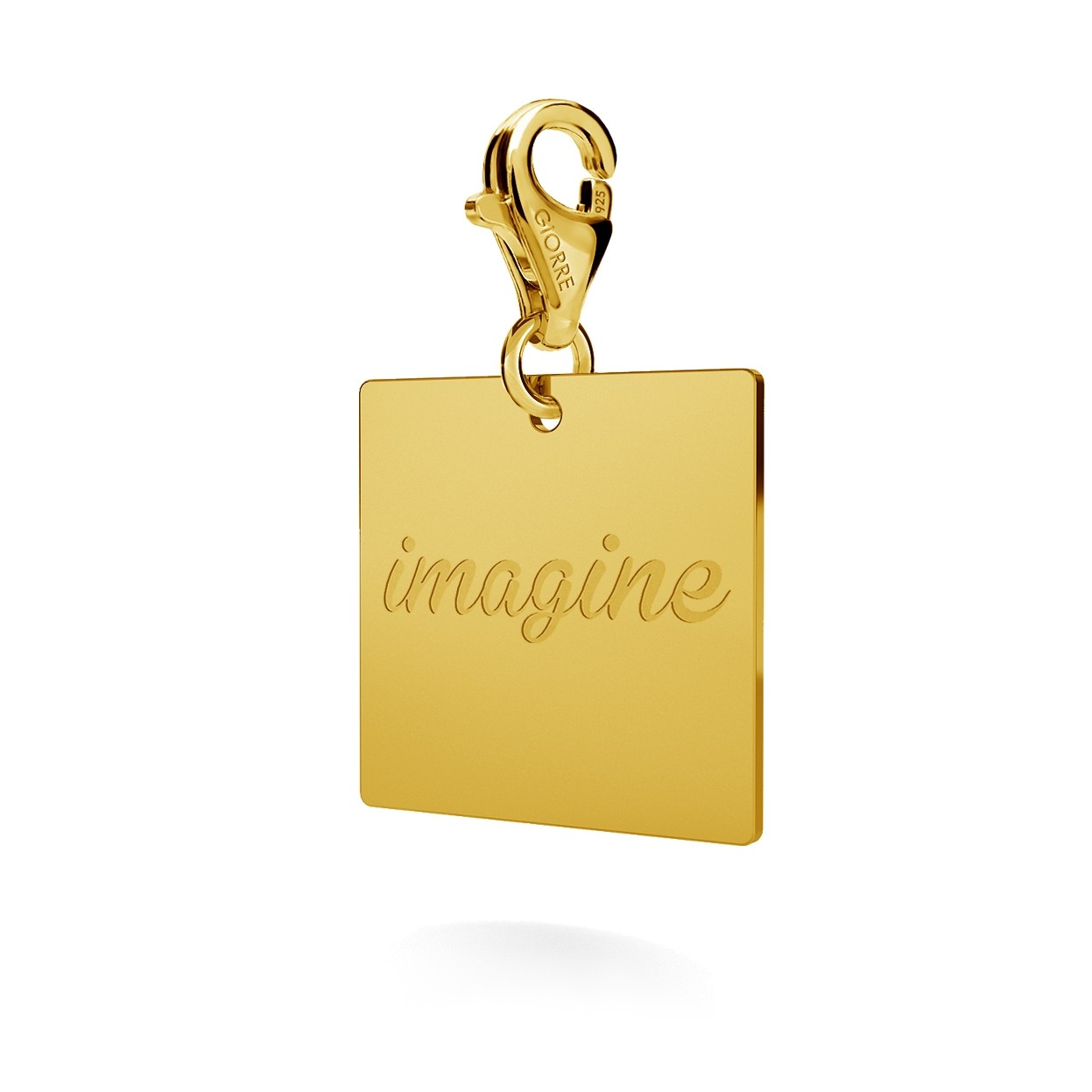 CHARM WITH ENGRAVE, SQUARE, SILVER 925,  RHODIUM OR GOLD PLATED