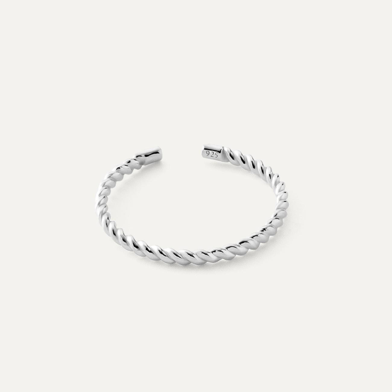 Srebrny pierścionek lina, sznurek 925