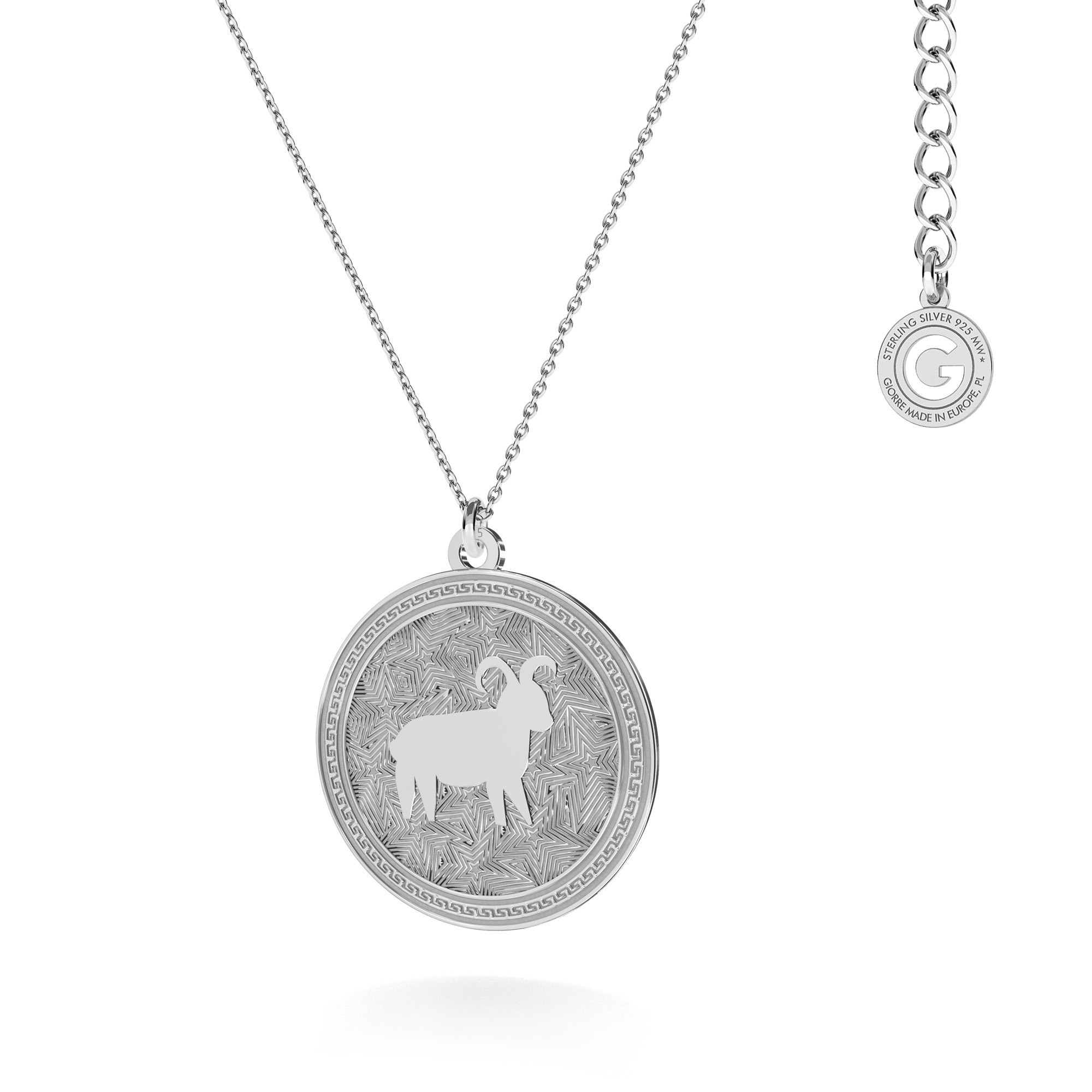 Aries zodiac sign necklace silver 925