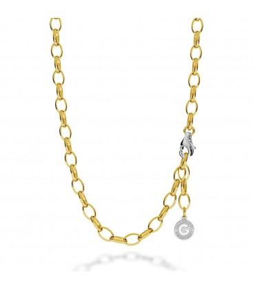 Gargantilla de plata 55-65 cm oro rosa, cierre rodio claro, enlace 9x6,5 mm