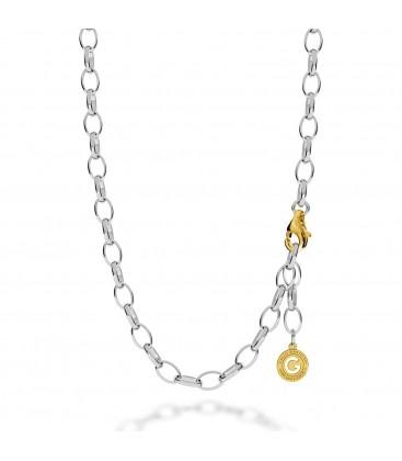 Silberne halskette 55-65 cm, rosagold, verschluss helles rhodium, kettenglieder 9x6,5 mm