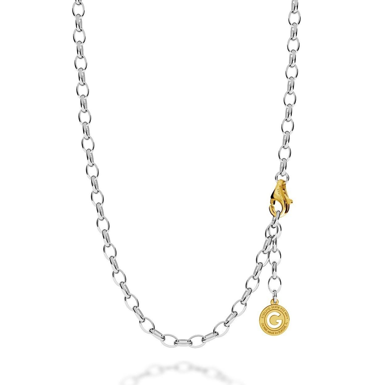 Silberne halskette 55-65 cm, helles rhodium, verschluss goldgelb, kettenglieder 7x5 mm