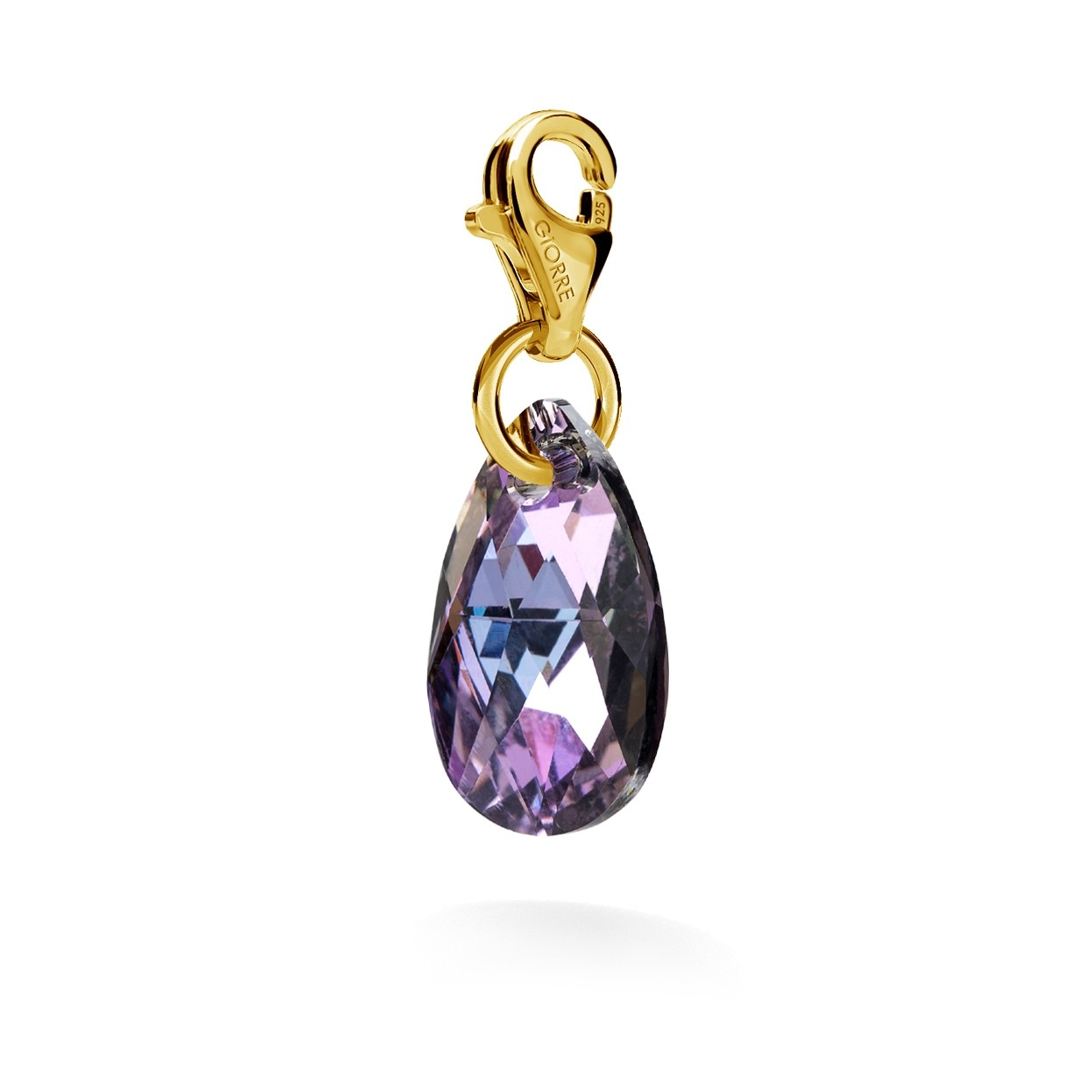 CHARM 54, SWAROVSKI 6106 MM 16 CRYSTAL, STERLING SILVER (925) RHODIUM OR GOLD PLATED