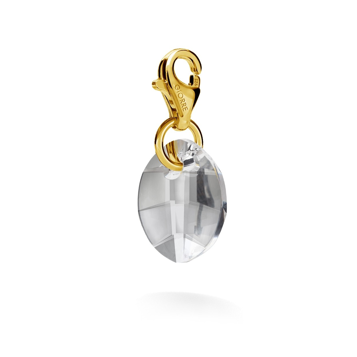 CHARM 52, SWAROVSKI 6734 MM 14 CRYSTAL, STERLING SILVER (925) RHODIUM OR GOLD PLATED