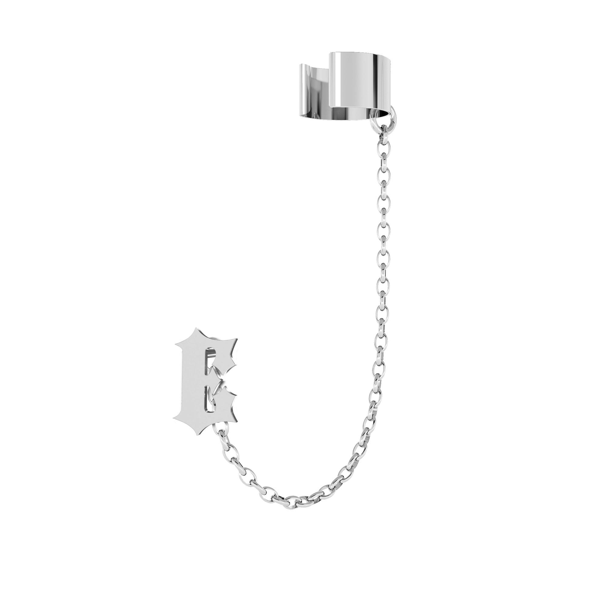 Kolczyk nausznica dowolna litera MON DÉFI, srebro 925