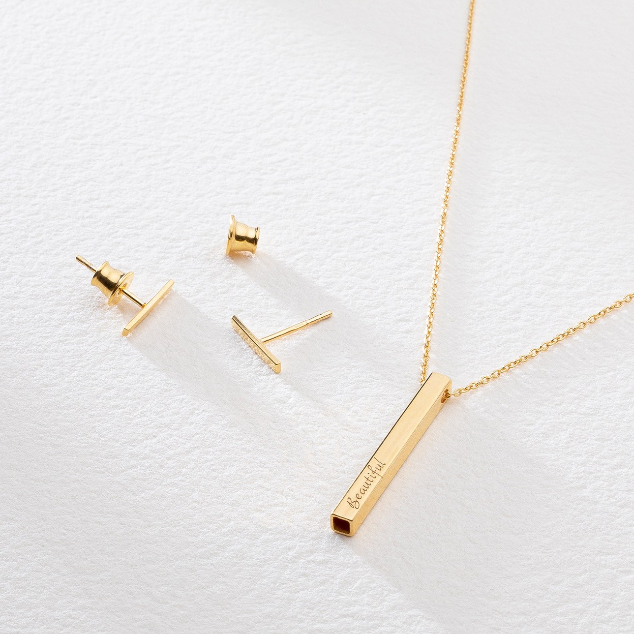 RECTANGLE TUBE 2,7 cm necklace 925 with engraving