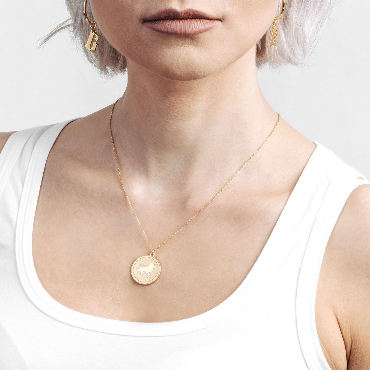 Srebrny naszyjnik znak zodiaku LEW 925
