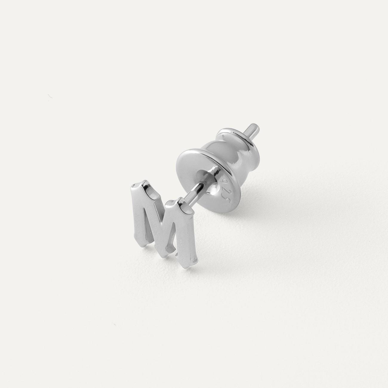 Kolczyk dowolna litera MON DÉFI, srebro 925