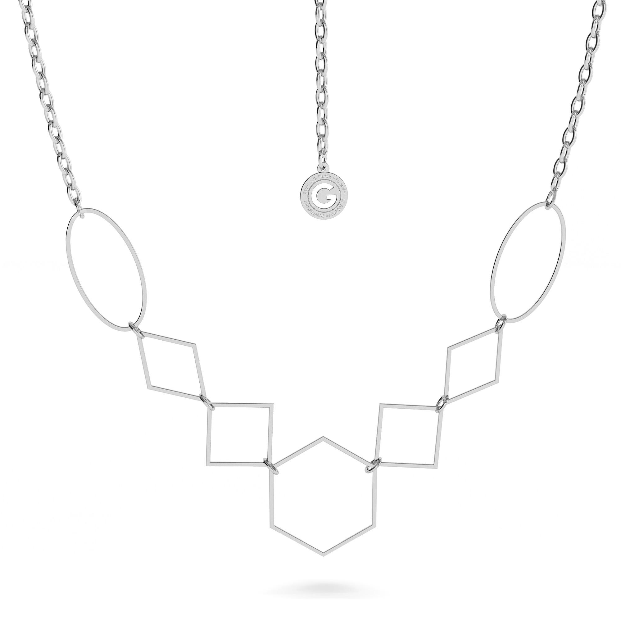 Srebrny naszyjnik figury geometryczne kształty 925