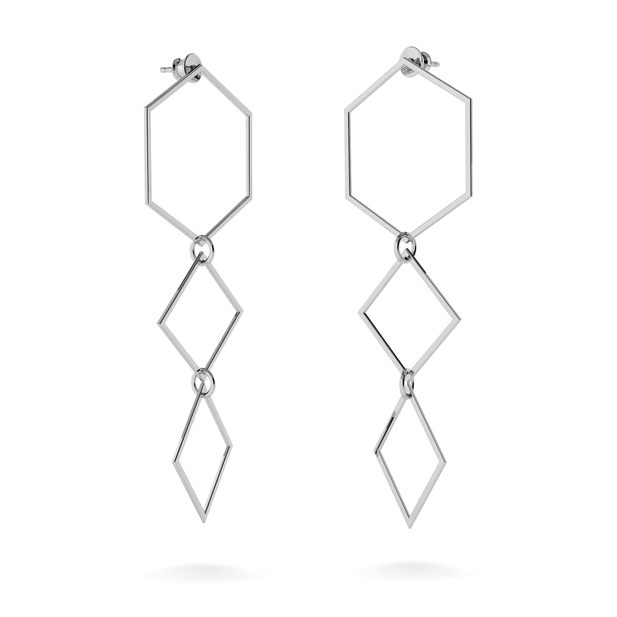 Long geometric earrings sterling silver 925