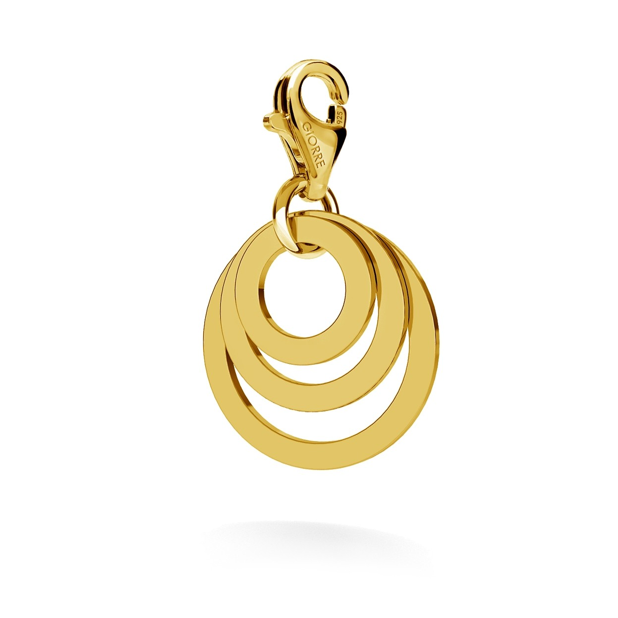 CHARM 44, TRIPLE RING WITH ENGRAVE, STERLING SILVER RHODIUM OR 24K GOLD PLATED