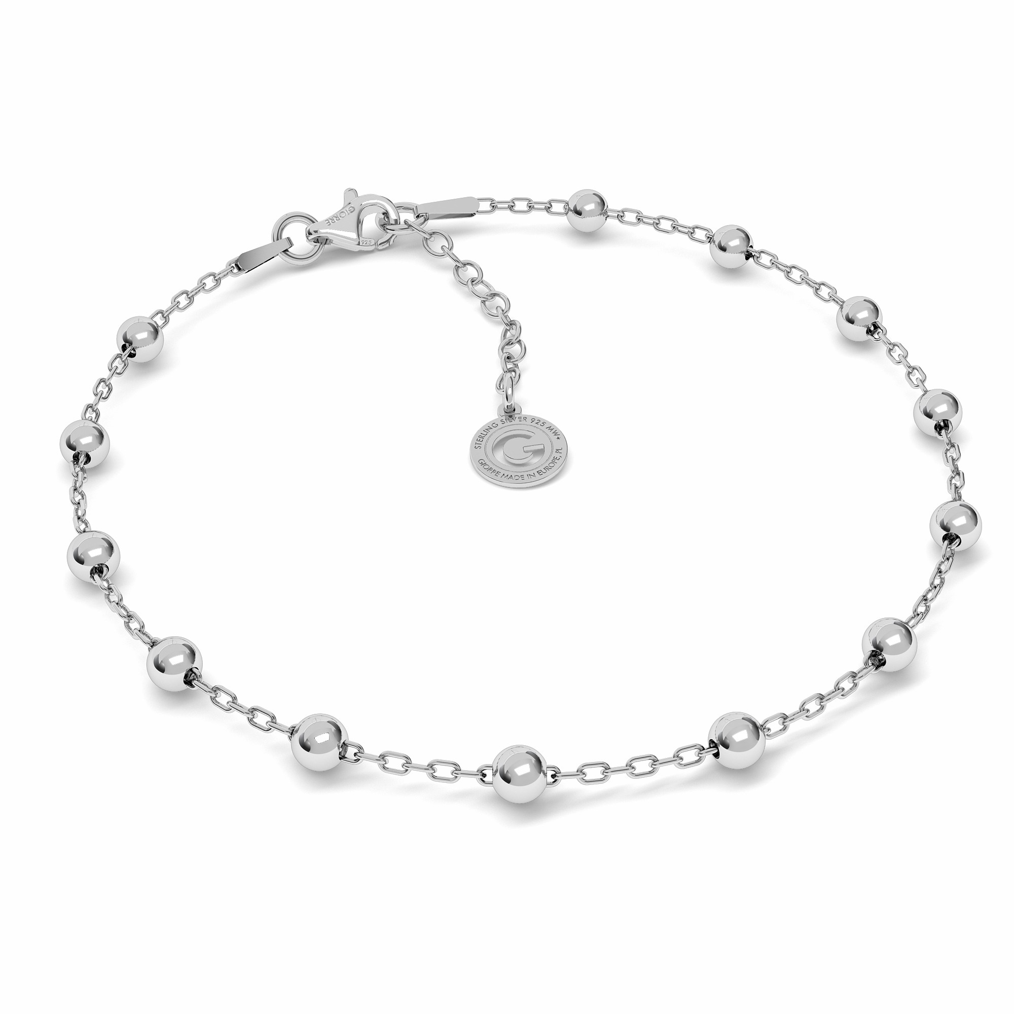 Silver bracelet anchor with balls
