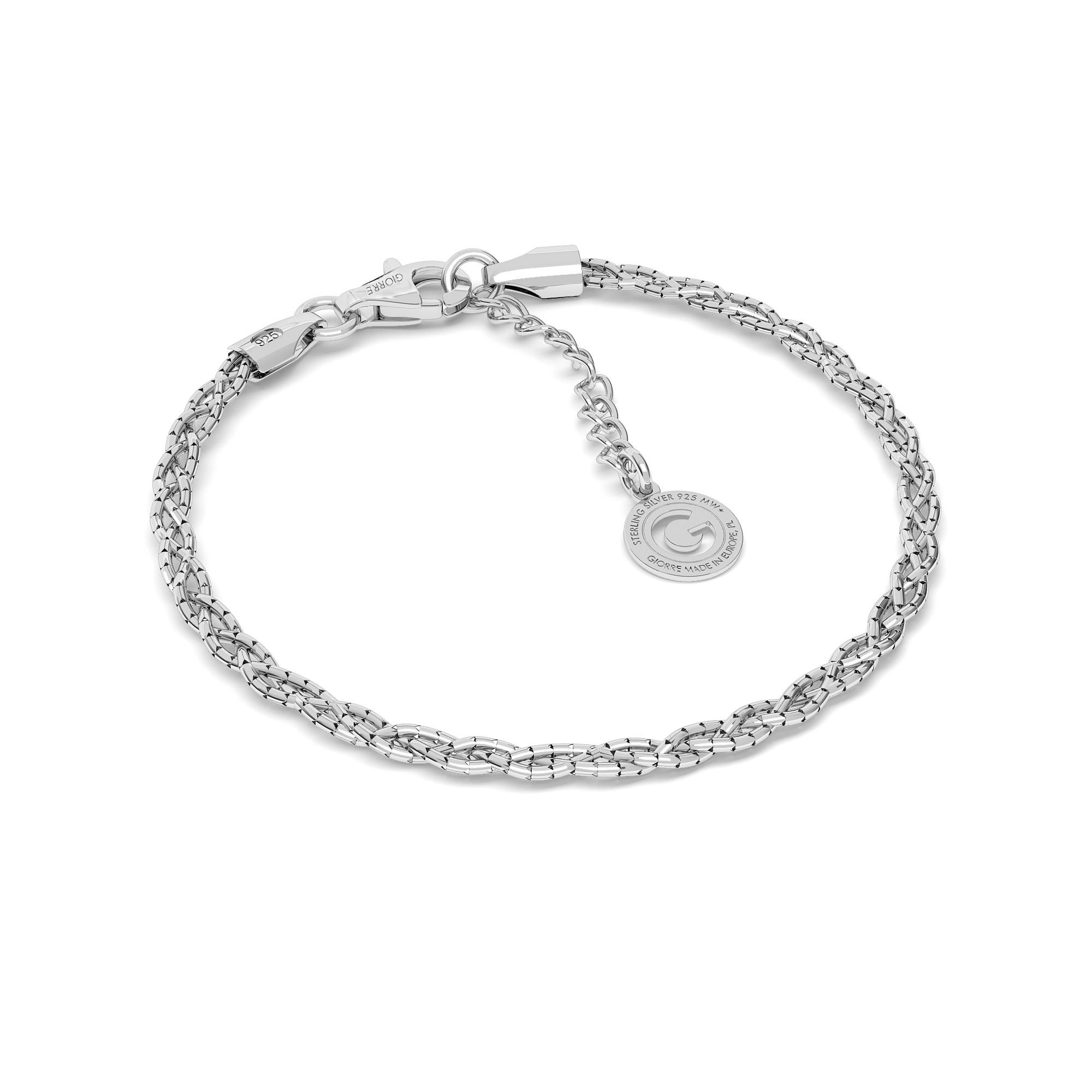 Srebrna bransoletka warkocz pleciony z 3 łańcuszków 925