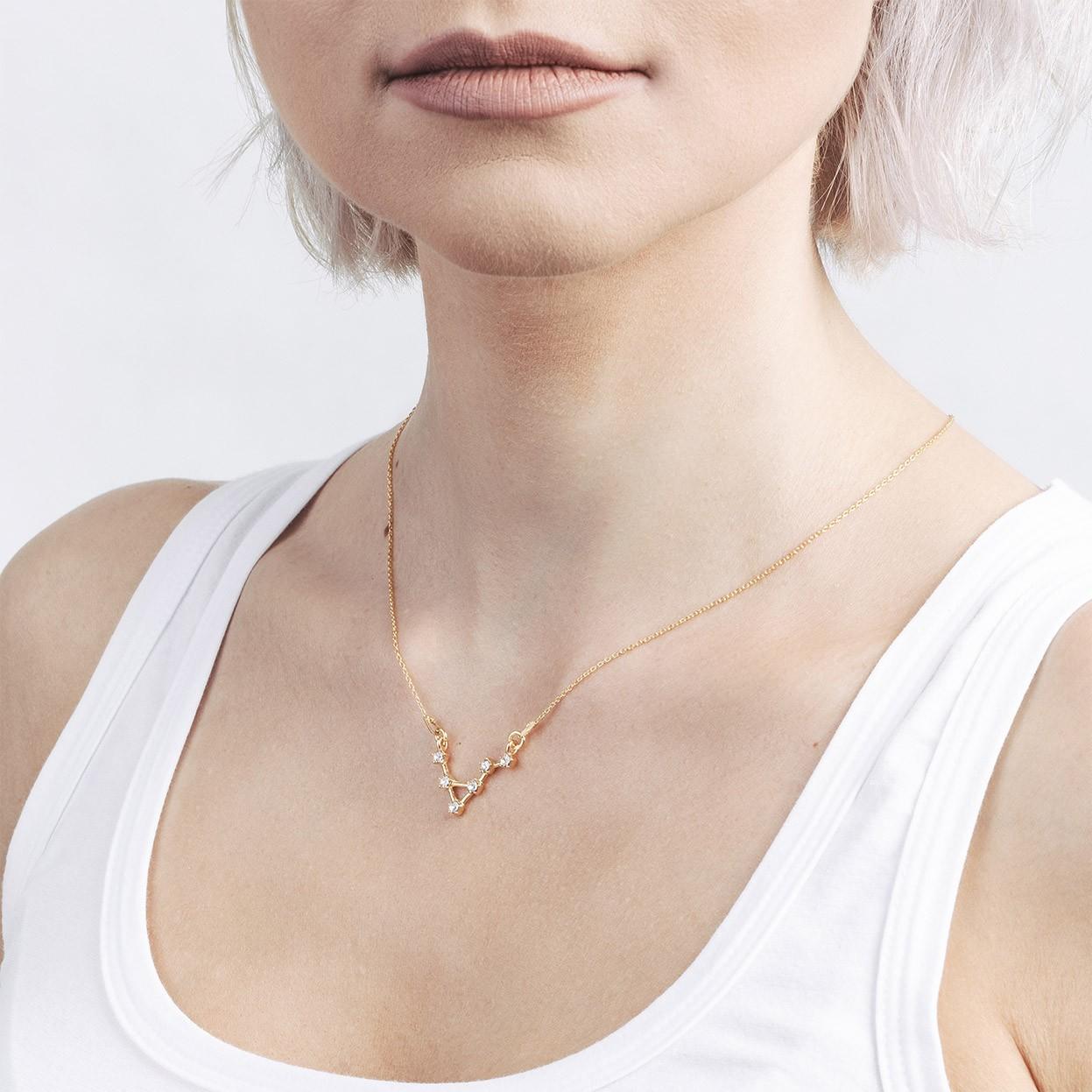 LIBRA zodiac sign necklace with Swarovski Crystals silver 925