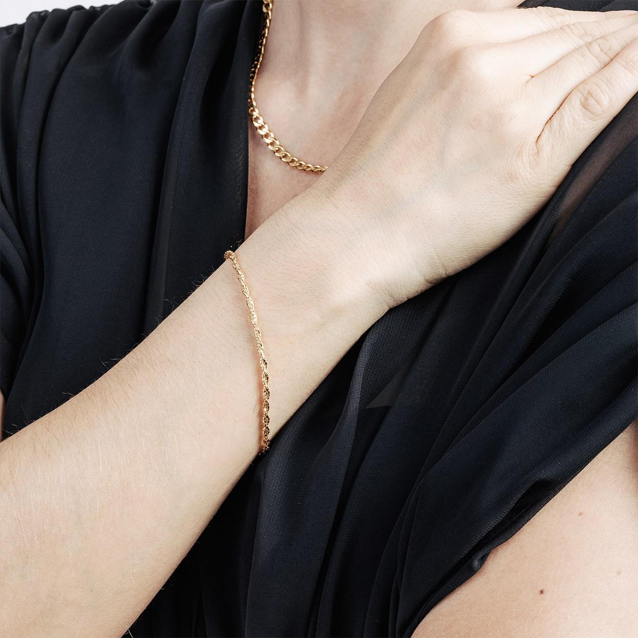 Srebrna bransoletka pleciona z 2 łańcuszków 925
