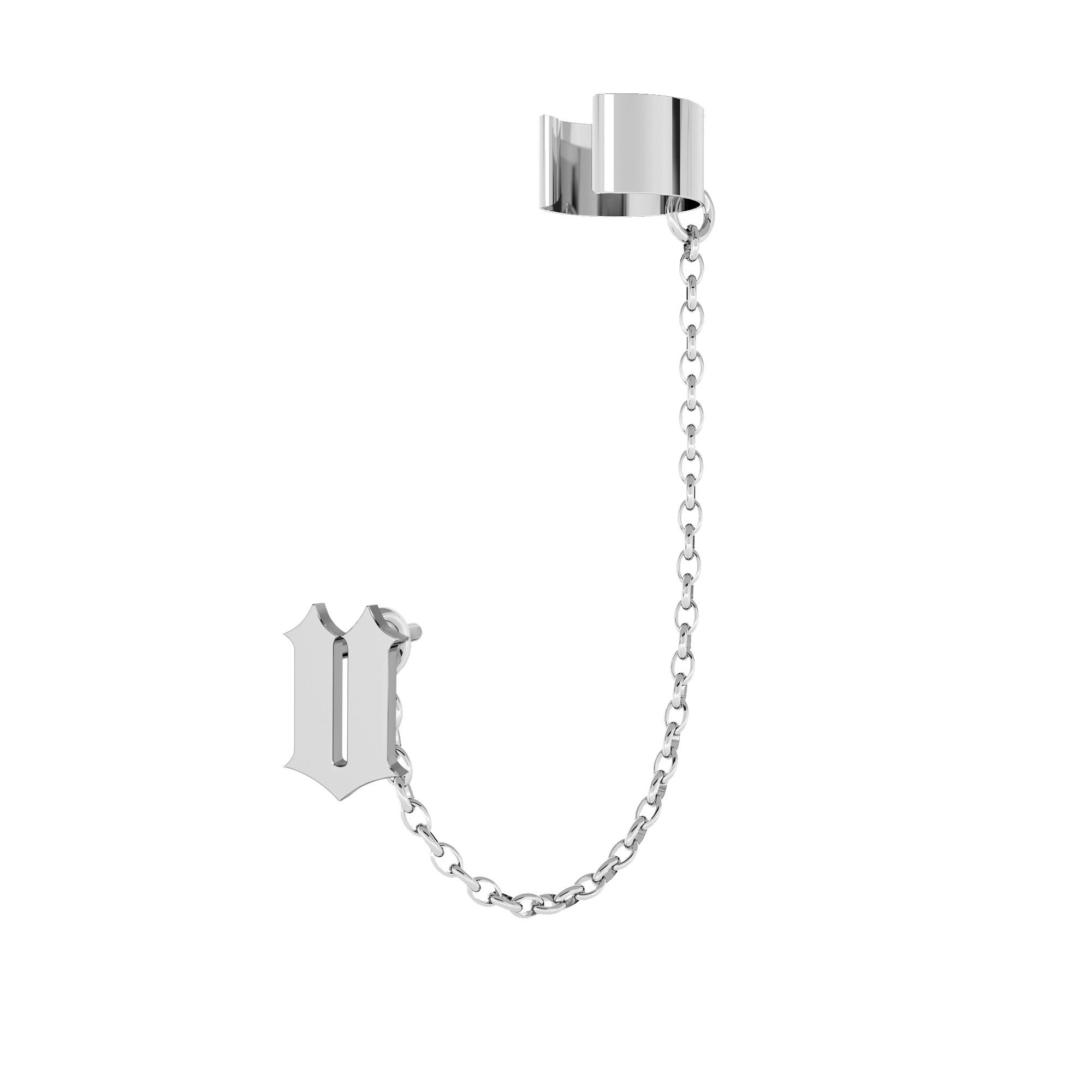 Pendientes de cadena cono plata 925