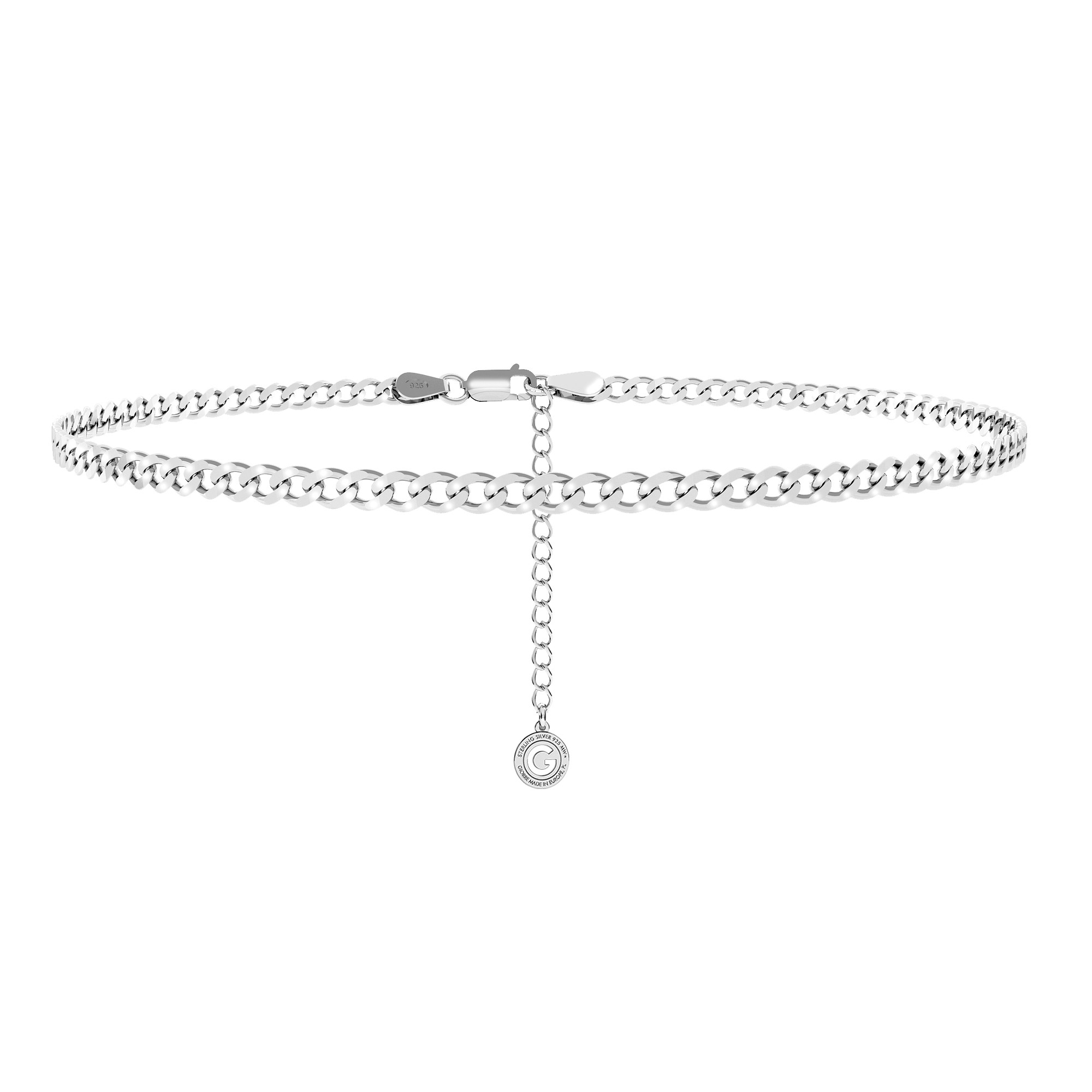 Silver choker curb chain sterling silver 925