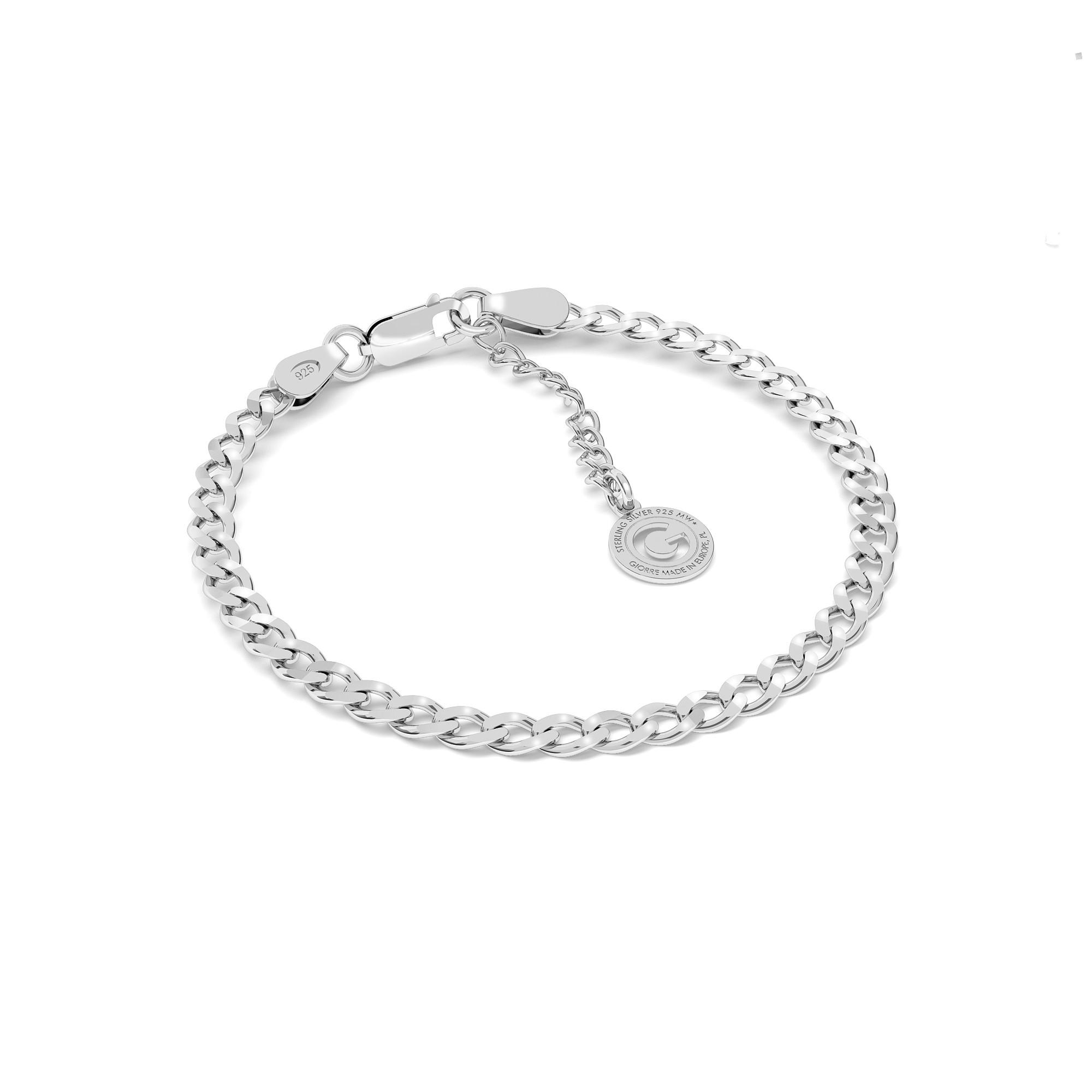Srebrna bransoletka łańcuszkowa pancerka 925