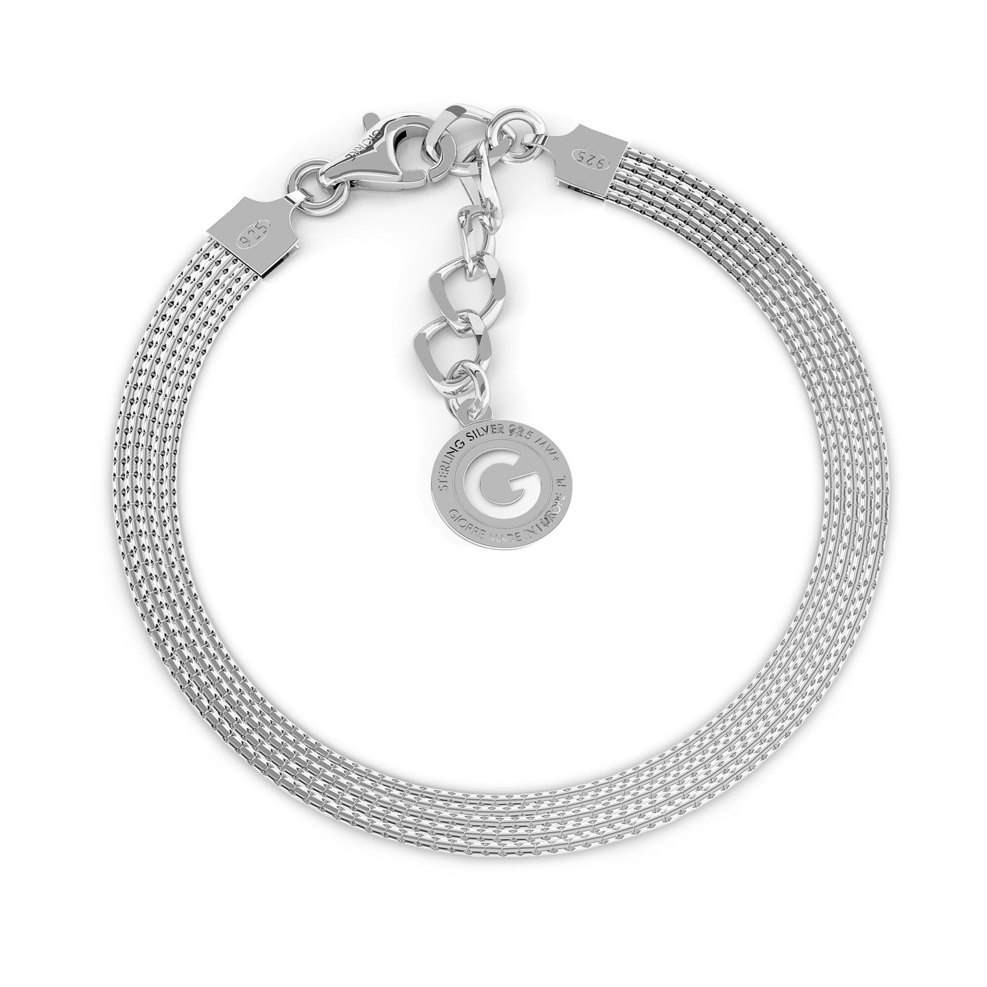 Srebrna bransoletka z 5 łańcuszków 925