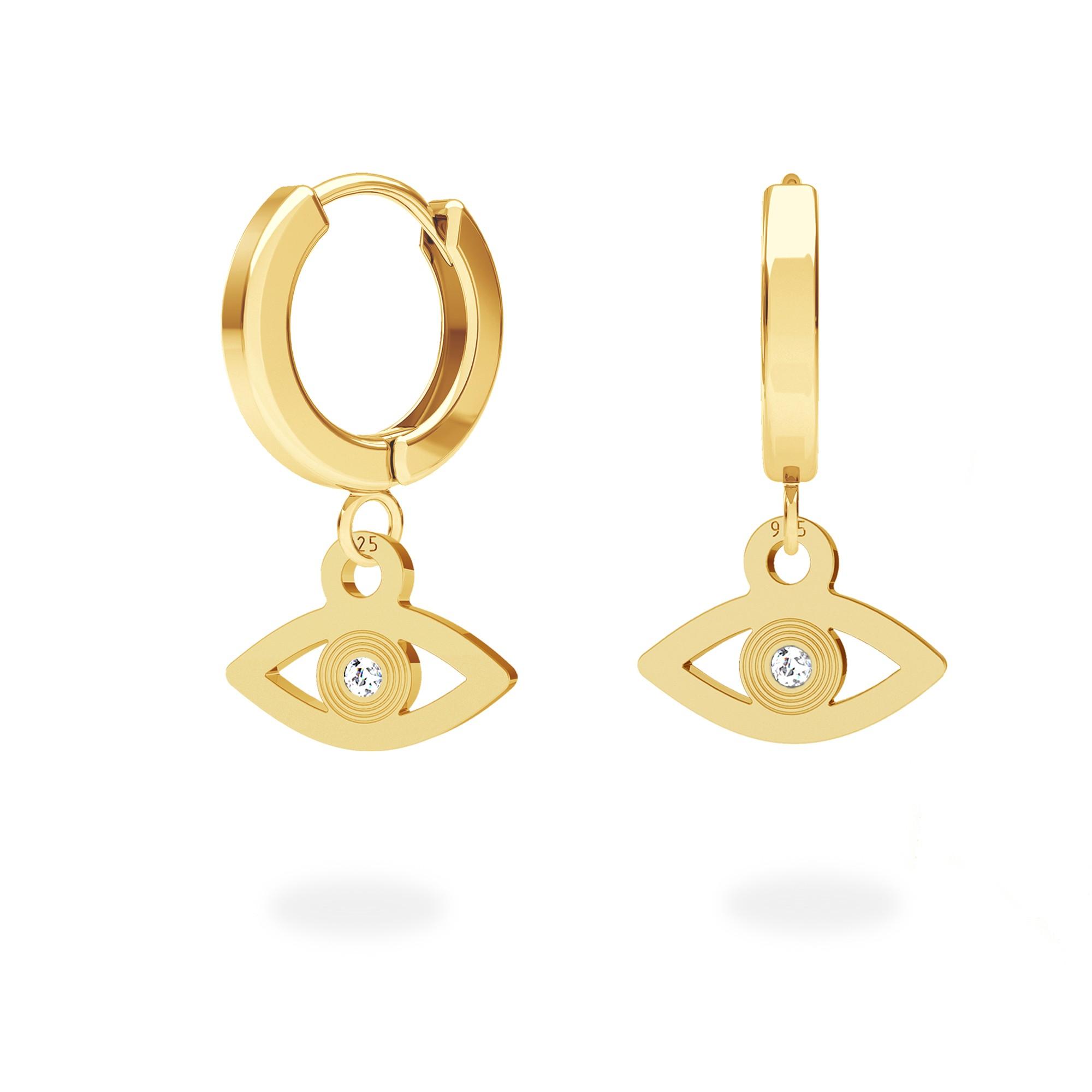 Eye earrings with Swarovski Crystals sterling silver 925