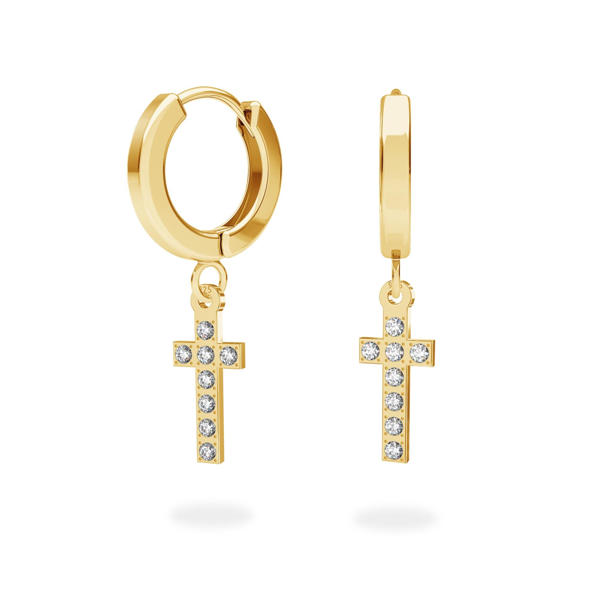 Delikatne wiszące kolczyki, krzyżyki z kryształami Swarovskiego, srebro 925
