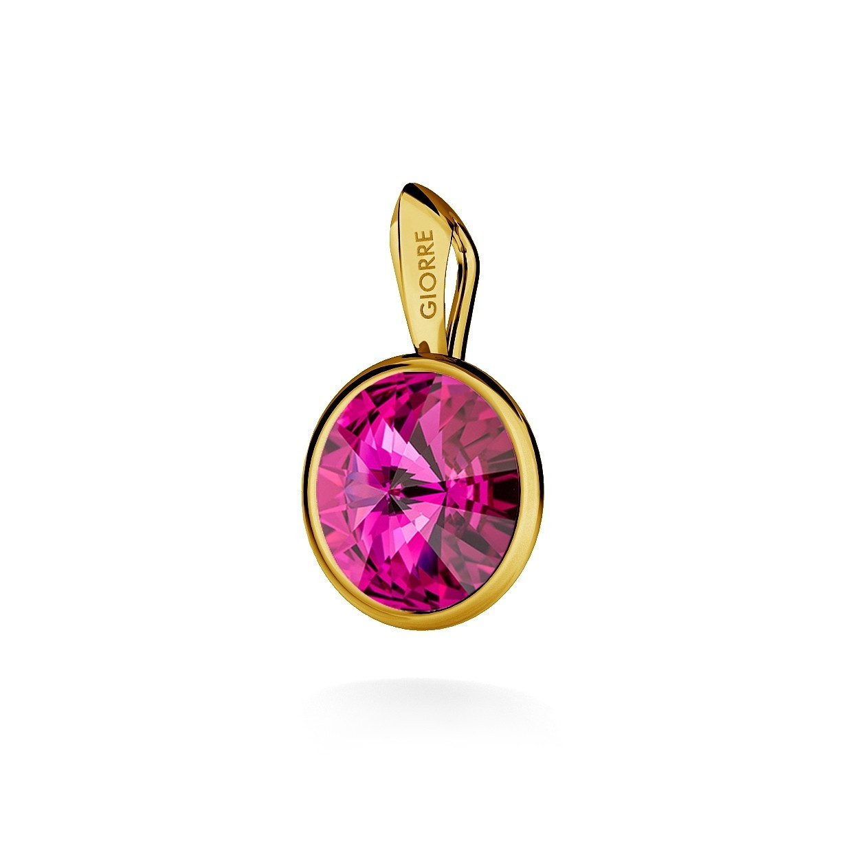RIVOLI PENDANT, SWAROVSKI 1122 MM 10, STERLING SILVER (925) RHODIUM OR GOLD PLATED
