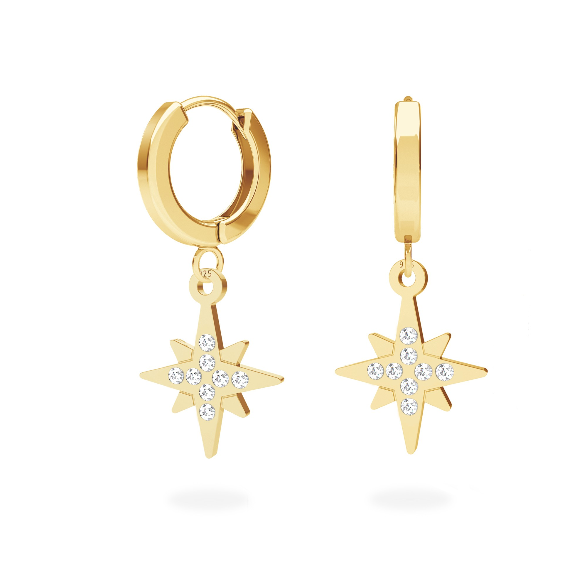 North star earrings sterling silver 925