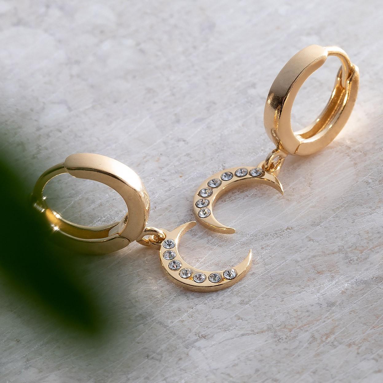 Delikatne wiszące kolczyki, księżyc z kryształami Swarovskiego, srebro 925