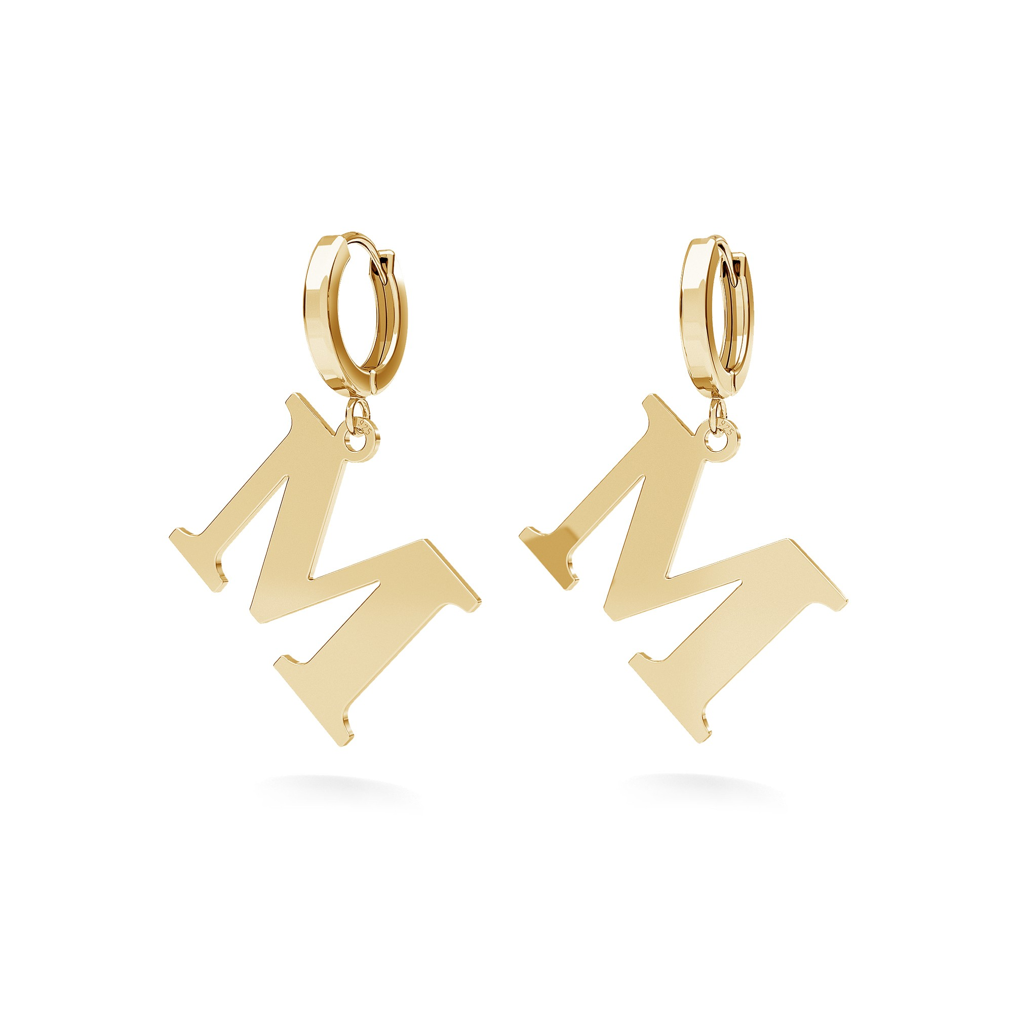 Letter earrings sterling silver 925
