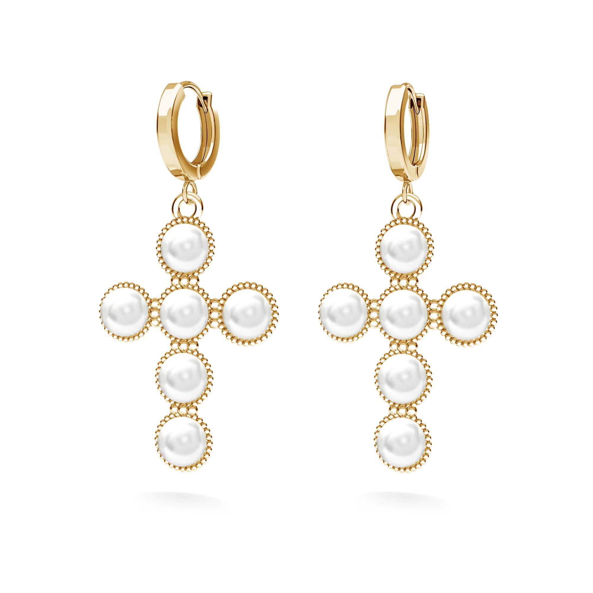 Kolczyki krzyżyk z perłami, Swarovski, srebro 925