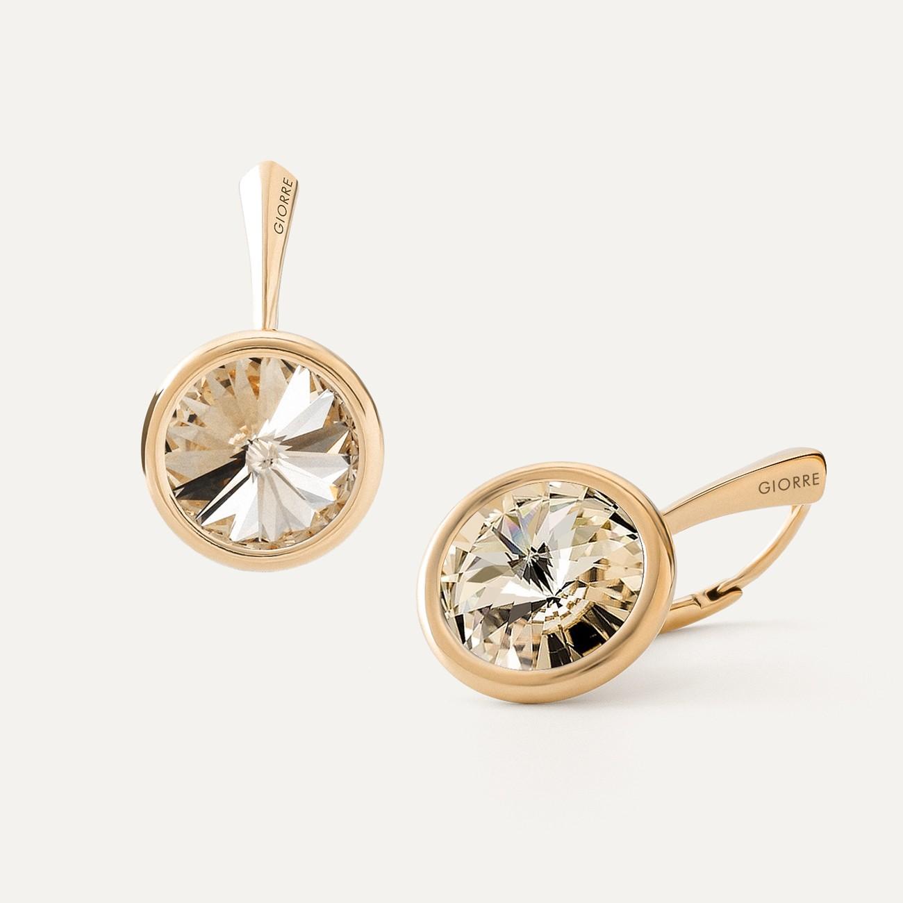 RIVOLI EARRINGS, SWAROVSKI 1122 MM 10, STERLING SILVER (925) RHODIUM OR GOLD PLATED