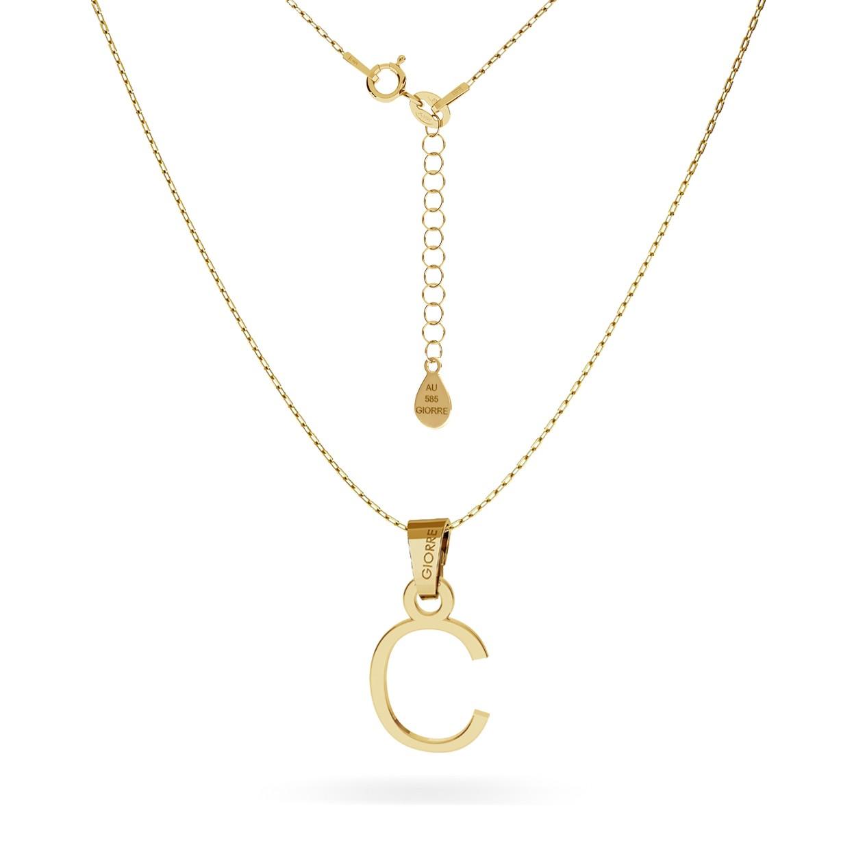 Złoty naszyjnik z literką, alfabet, złoto 585