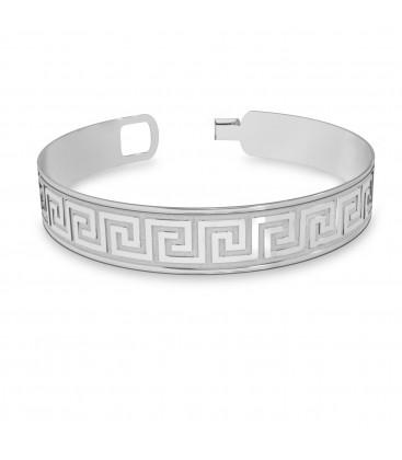 Męska szeroka bransoletka z greckim wzorem, srebro 925