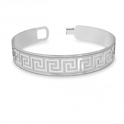 Męska szeroka bransoletka z greckim wzorem srebro 925