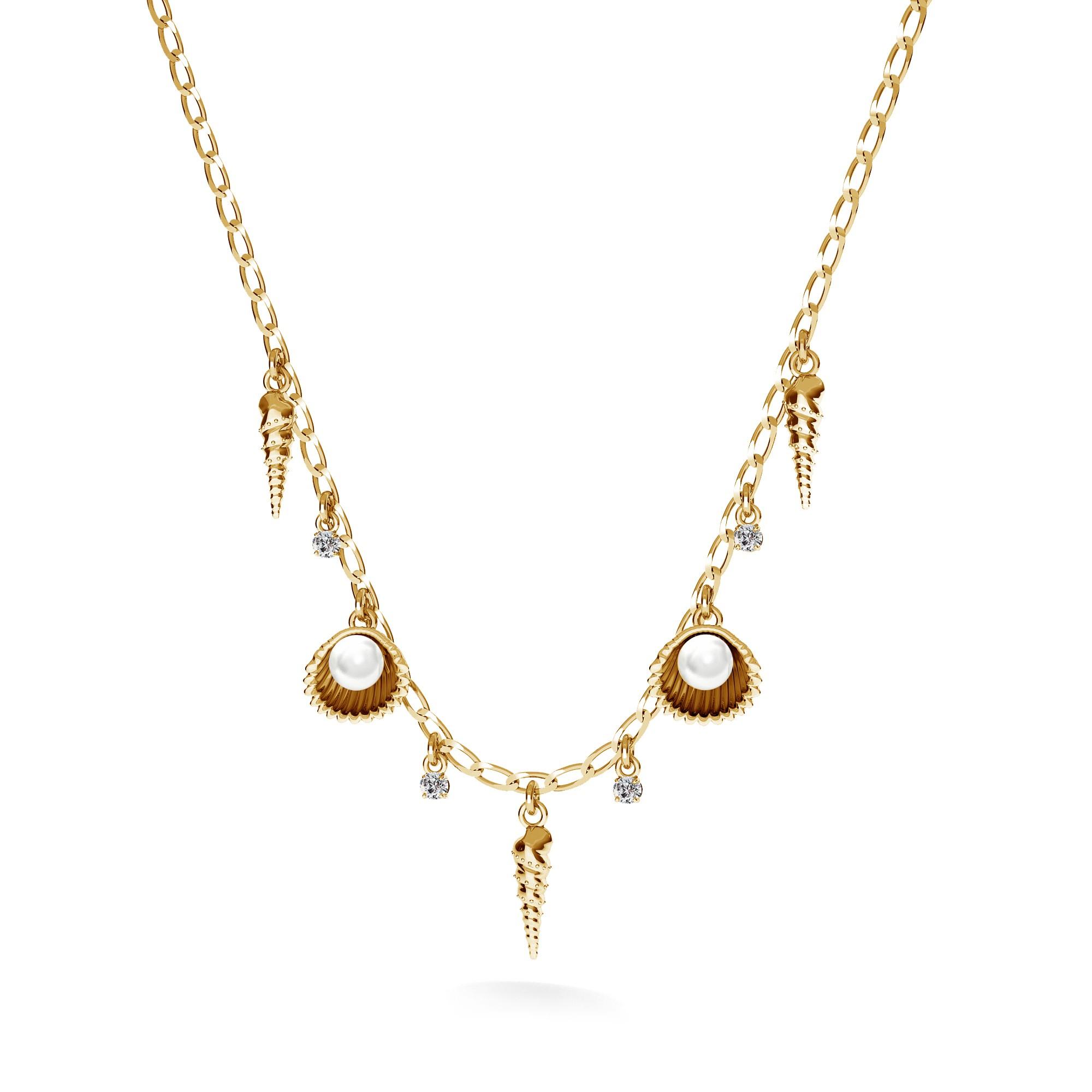 Srebrny naszyjnik z perłami, MON DÉFI, srebro 925, Swarovski