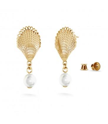 Kolczyki wiszące - muszelki z perłą, MON DÉFI, srebro 925