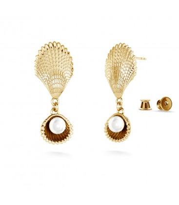 Boucles doreilles - coquillages avec perle, MON DÉFI argent 925