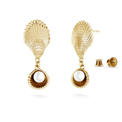 Pendientes - conchas con perla, MON DÉFI plata 925