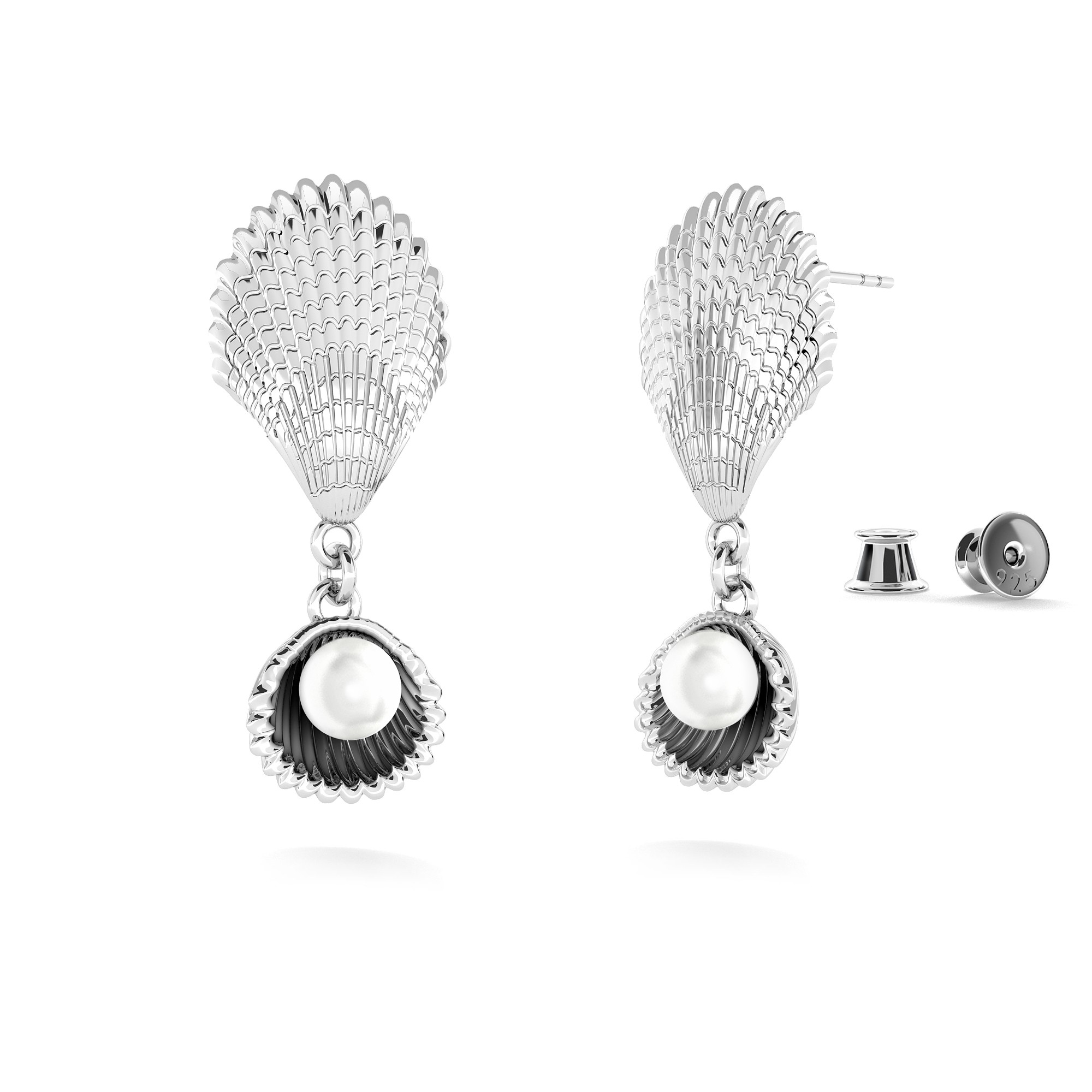 Earring - shells with pearl, MON DÉFI sterling silver 925