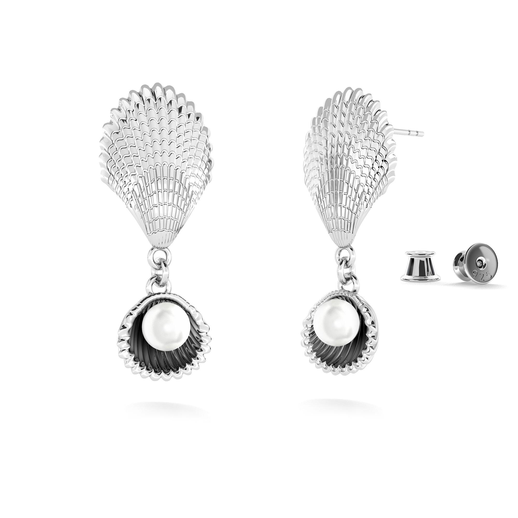 Kolczyki muszelki z perłą, MON DÉFI, srebro 925