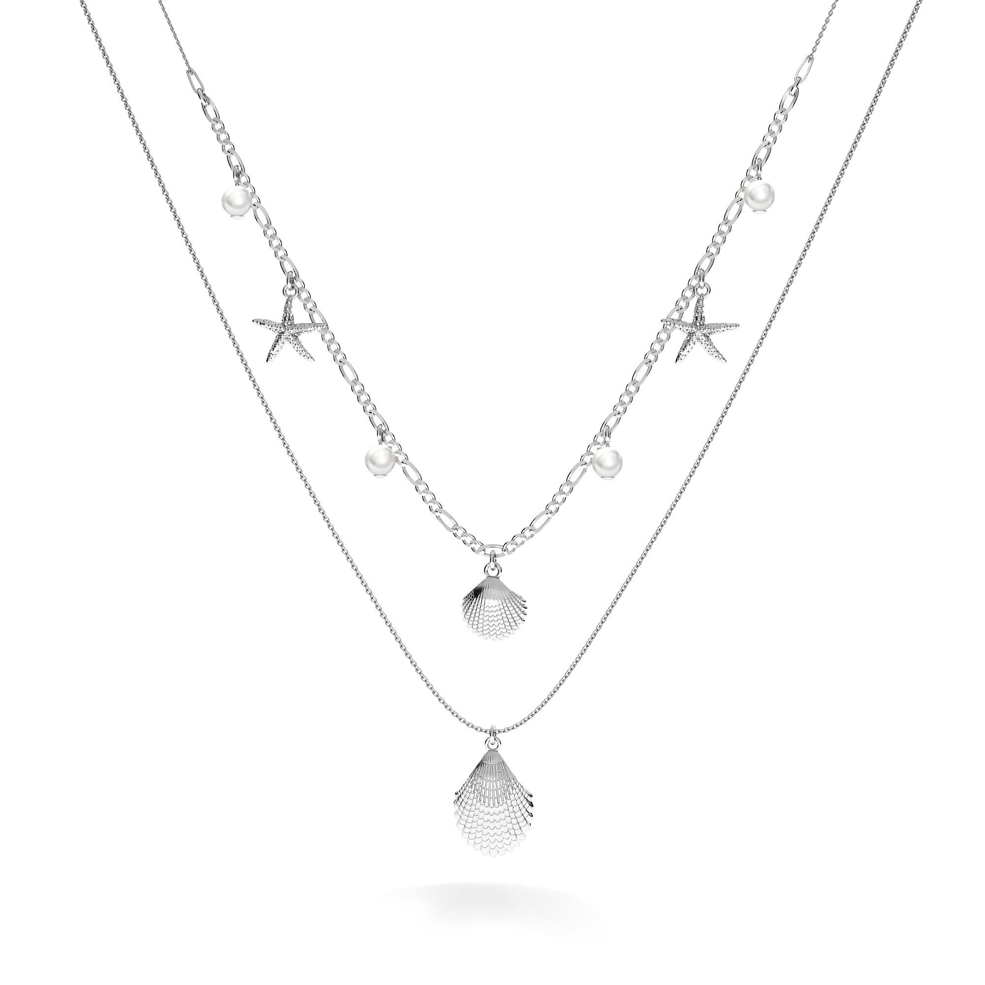 Srebrny naszyjnik muszelki rozgwiazda, MON DÉFI, srebro 925, Swarovski