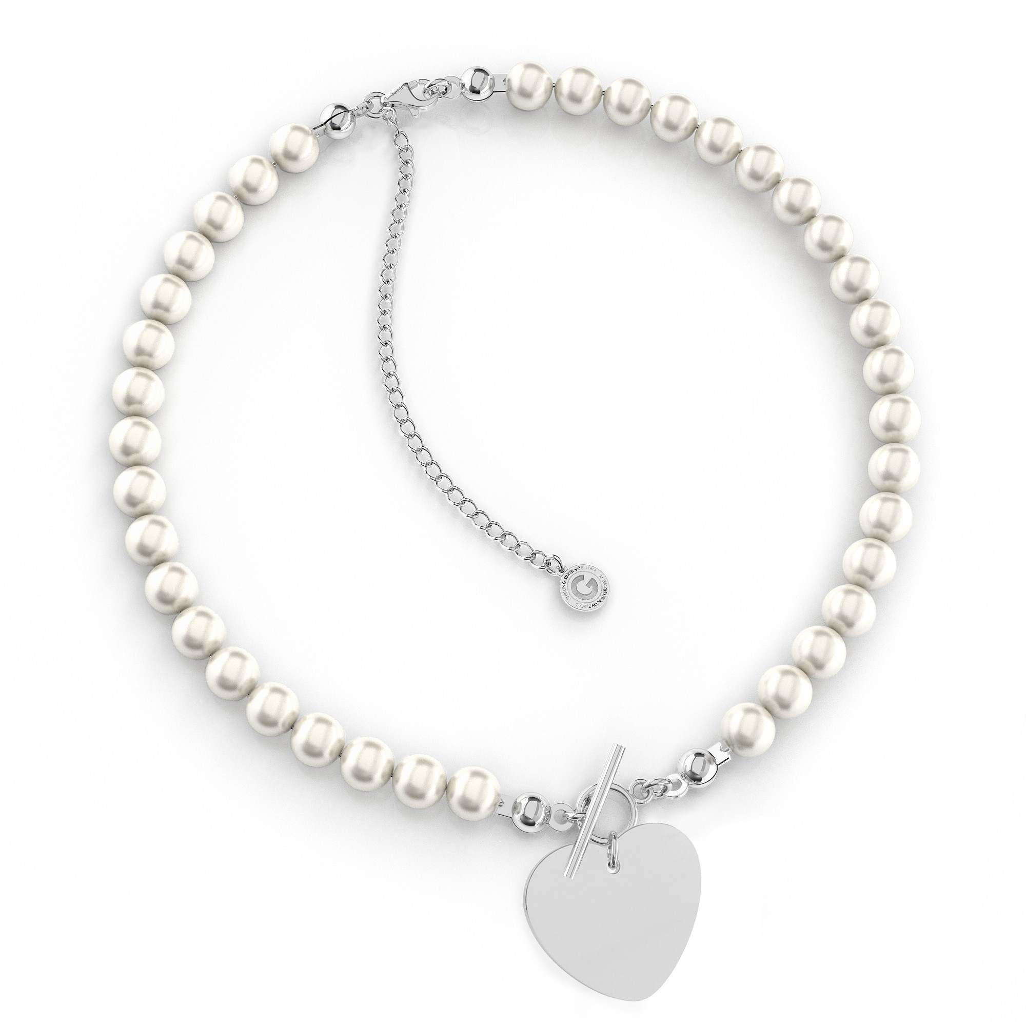 Pearls choker with big letter, Silver 925