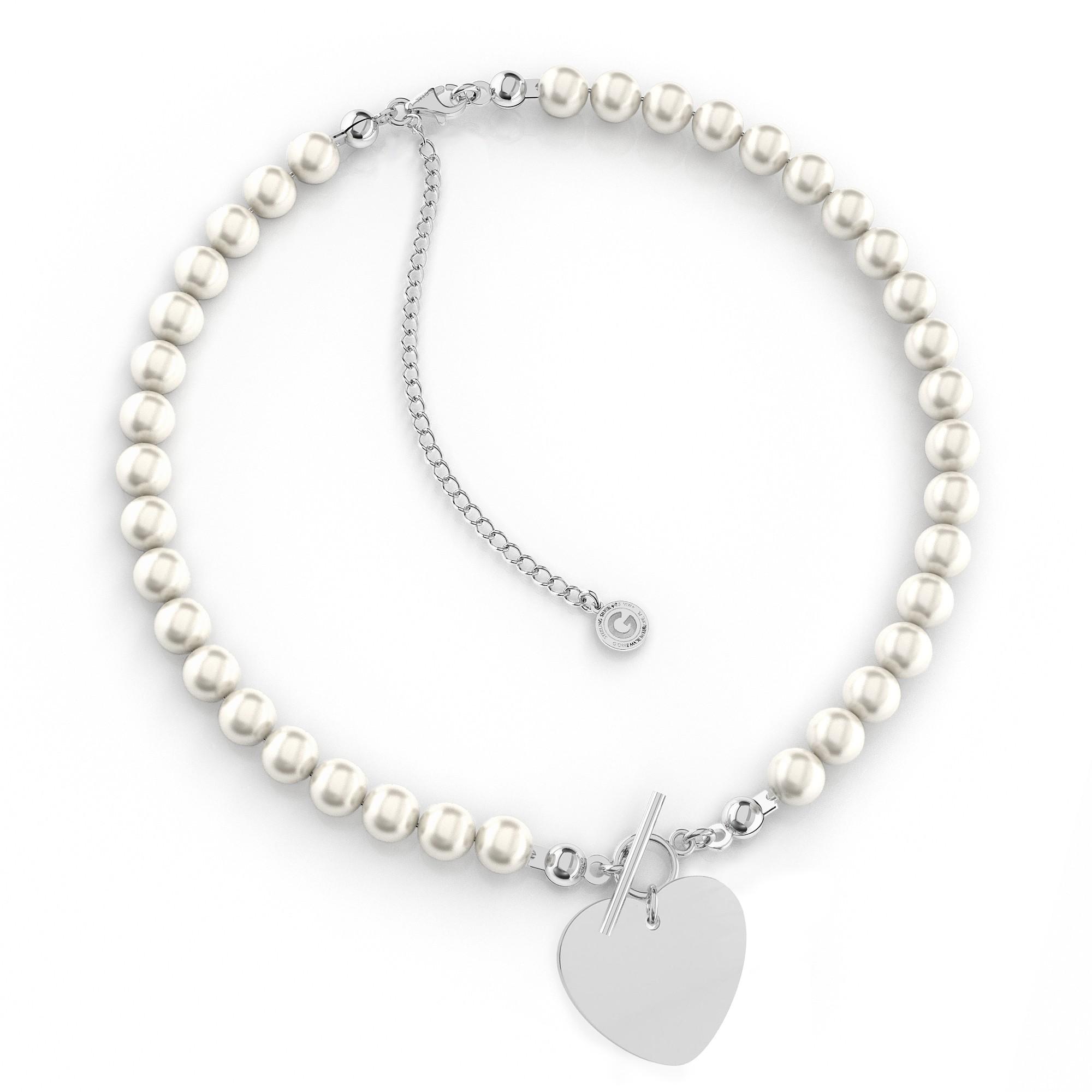 Srebrny perłowy choker serce z grawerem 925