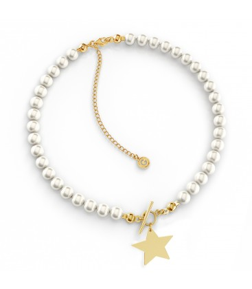 Srebrny perłowy choker gwiazda z grawerem, srebro 925