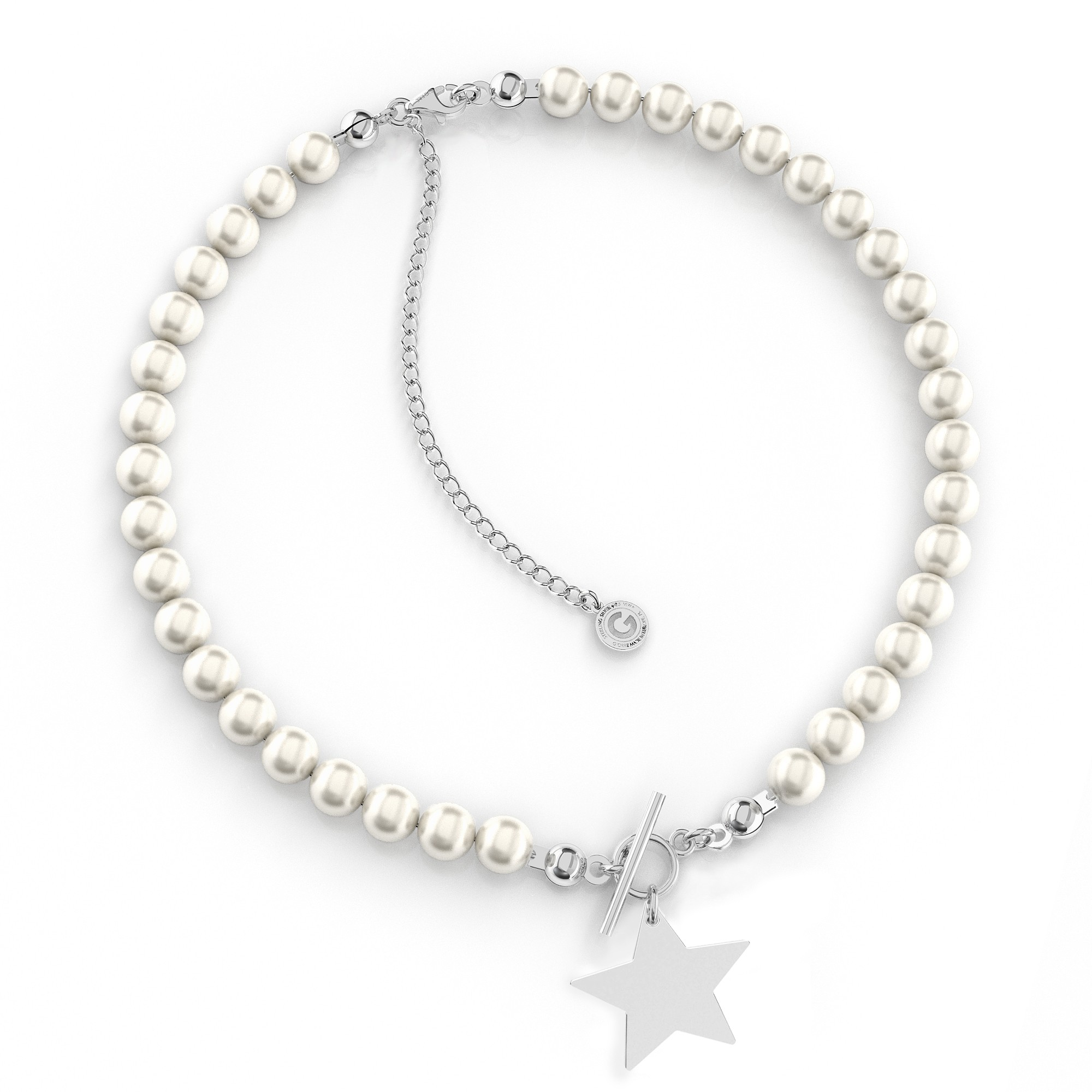 Pearls choker with heart & engarving Silver 925