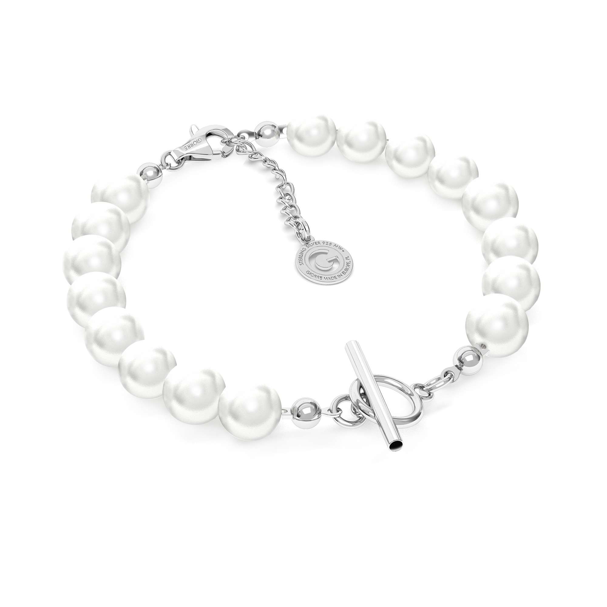 Swarovski pearls bracelet charms base, Silver 925
