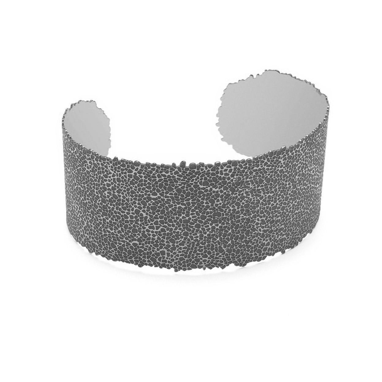 Damska szeroka młotkowana bransoletka MON DÉFI grawer srebro 925