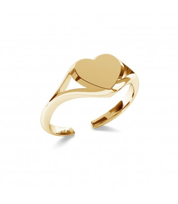 Srebrny pierścionek serce, dowolna litera 925
