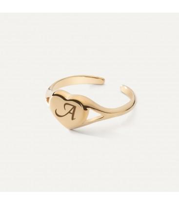 Srebrny pierścionek serce, dowolna litera, srebro 925