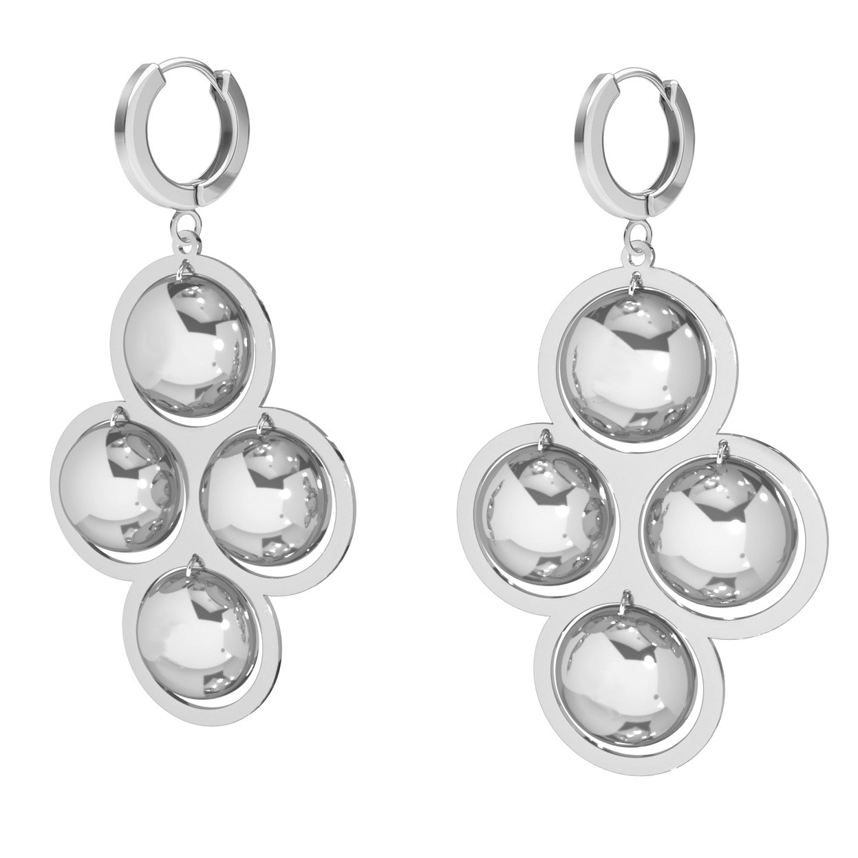 Long round earrings sterling silver 925